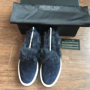 Rachel Zoe Burke Fur Trainers Midnight Blue